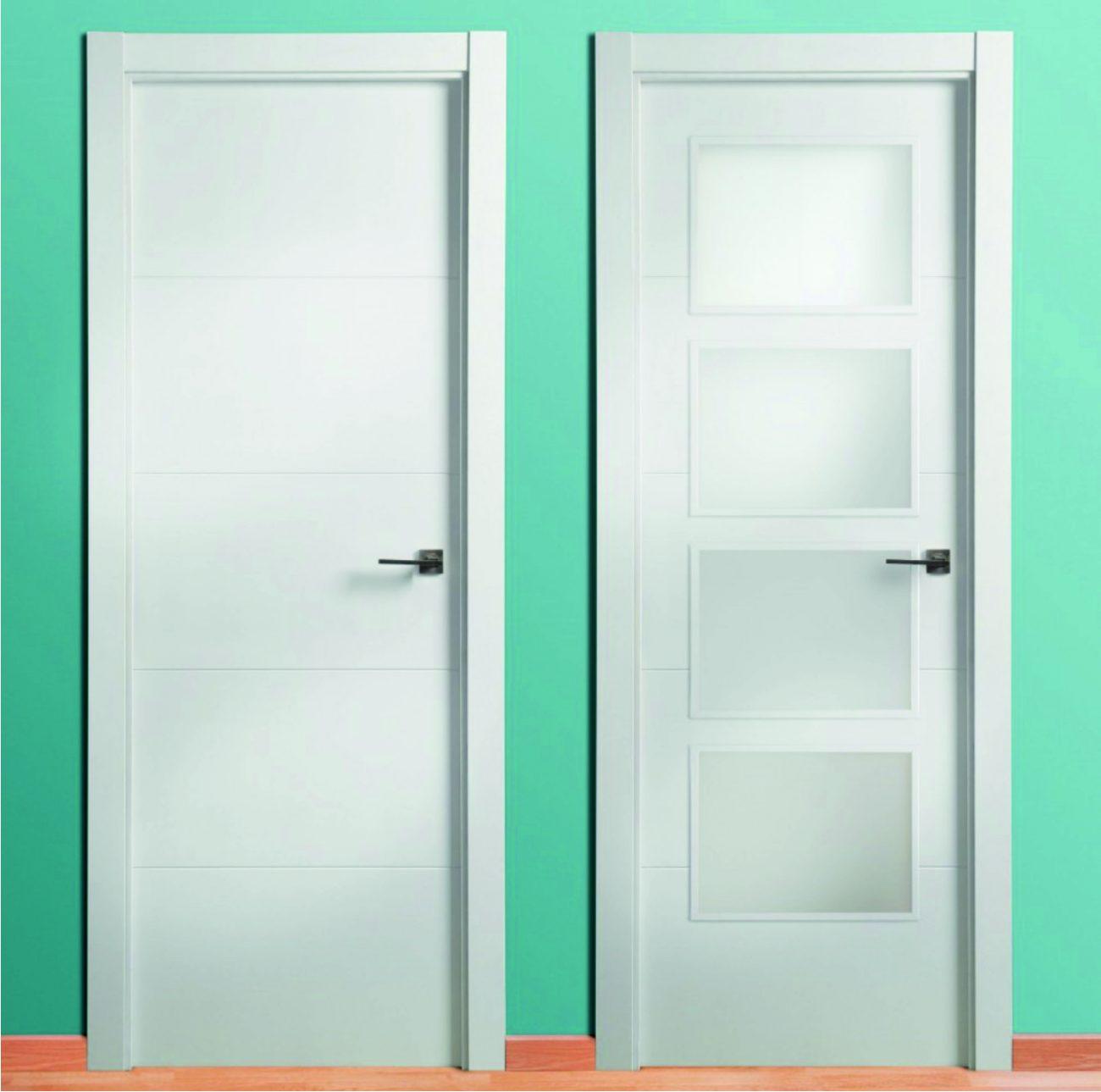 Puerta lacada blanca 4 ranuras 9003 cat logo maderas acu a for Puerta lacada blanca