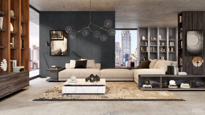 Tablero Melamina Innovus Urbanstone Graphite F2282 CMS